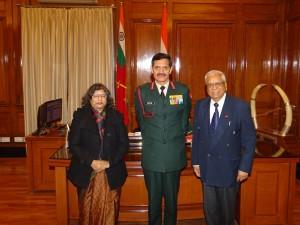 Managing Editor Brig. VK Atray(Retd.) & Editor Sangeeta Saxena with General Dalbir Singh Suhag