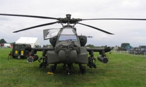 Boeing AH-64 Apache attack helicopter standing in a green field waiting to take off for an operation. It has a four-blade, twin-turbo shaft engines and a nose-mounted sensor . It is armed with a 30 mm (1.18 in) M230 chain gun carried between the main landing gear, under the aircraft's forward fuselage. It has four hardpoints mounted on stub-wing pylons, typically carrying a mixture of AGM-114 Hellfire missiles and Hydra 70 rocket pods.suite for target acquisition and night vision systems.