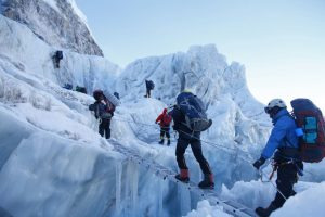 3 - INDIAN ARMY TEAM CROSSING THE KHUMBU ICE FALL