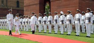 The Chief of Naval Staff, Admiral Sunil Lanba inspecting the Guard of Honour, in New Delhi on May 31, 2016.