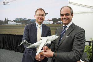 KC-390 in AERO Vodochody - Giuseppe Giordo of Aero (right) and CZ Deputy...