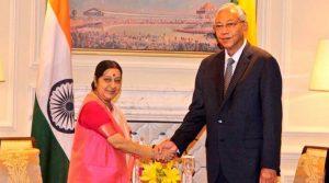 External Affairs Minister Sushma Swaraj with Myanmar President U Htin Kyaw,