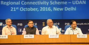 The Union Minister for Civil Aviation, Ashok Gajapathi Raju Pusapati at the launch of the Regional Connectivity Scheme of MoCA, in New Delhi on October 21, 2016. The Minister of State for Civil Aviation, Shri Jayant Sinha, the Secretary, Ministry of Civil Aviation, Shri R.N. Choubey and the Director General (M&C), Press Information Bureau, Shri A.P. Frank Noronha are also seen.