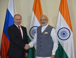 The Prime Minister, Shri Narendra Modi with the President of Russian Federation, Mr. Vladimir Putin ahead of the restricted talks between the two nations, in Goa on October 15, 2016.