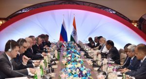 The Prime Minister, Shri Narendra Modi and the President of Russian Federation, Mr. Vladimir Putin at the delegation level talks between India and Russia, in Goa on October 15, 2016.