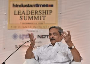 New Delhi, India - Dec. 2, 2016: Manohar Parrikar, Union minister of Defence in conversation with Nitin Gokhale, National Security Analyst during Hindustan Times Leadership Summit at Taj Palace, in New Delhi, India, on Friday, December 2, 2016. (Photo by Sanjeev Verma/ Hindustan Times)