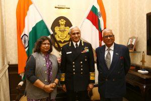 Managing Editor Brig. VK Atray(Retd.) & Editor Sangeeta Saxena with the CNS