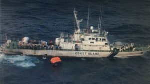 Indian Coast Guard Ship Rajkamal in Andaman Sea . It was in an operation to rescue survivors of MV ITT Panther which sunk in the Andaman Sea. Indian Coast Guard Ship Rajkamal with survivors is heading to Port Blair.