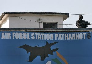 Airforce Station Pathankoy has a single soldier monitoring the security from the top of a building post the attack in 2016.