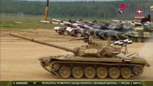 Tanks forging ahead at the Tank Biathlon  of The International Army Games at Alabino Ranges, Russia on 29 July 2017.