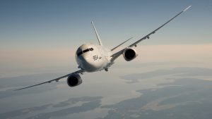 P-8A Poseidon flying in the sky
