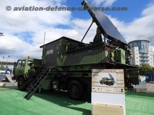 BEL's Weapon Locating Radar on display at DSEi in the outdoor display area in the lawns of Excel Centre at Greenwich London