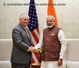 US Secretary of State Rex Tillerson with Prime Minister Narendra Modi