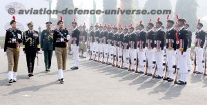 Chief of the Naval Staff reviewing 'Guard of Honour' during his visit to NCC Republic Day Parade Camp 2018, Delhi Cantt. Lt Gen BS Sahrawat, SM, DGNCC is also seen.