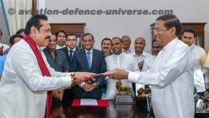 Mahinda Rajapaksa being sworn in as Prime Minister of Sri Lanka