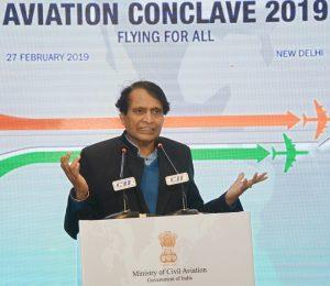 Shri Suresh Prabhakar Prabhu addressing the Aviation Conclave 2019