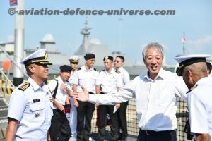 Mr Teo being welcomed on board Royal Thai Navy ship