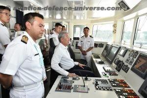 Mr Teo on the bridge of Royal Brunei Navy ship, KDB Daruttaqwa.