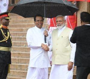 Narendra Modi with the President of the Democratic Socialist Republic of Sri Lanka