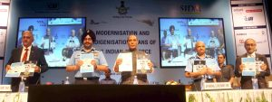 The Union Minister for Defence, Shri Rajnath Singh releasing the books on indigenisation efforts of defence equipment, at the seminar on 'Modernisation and Indigenisation plans of the Indian Air Force',