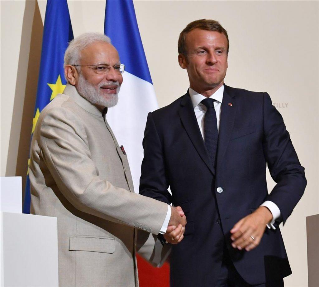 Indian Prime Minister Narendra Modi with French President Emmanuel Macron.