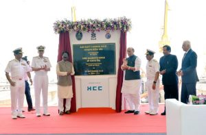 ndian Navy's first aircraft-carrier dry dock in Mumbai was inaugurated by the Defence Minister Rajnath Singh