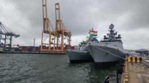 Indian Navy ships Sahyadri and Kiltan