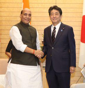 Rajnath Singh meeting the Prime Minister of Japan, Shinzo Abe