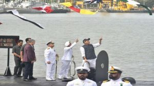 The Union Minister for Defence, Shri Rajnath Singh at the launch of warship INS 'Nilgiri', in Mumbai on September 28, 2019.