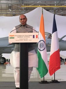 Rajnath Singh receives first jet from Dassault