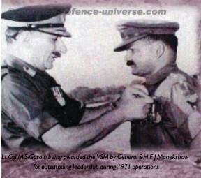 History III- Lt Col M S Gosain being awarded the VSM by General S H F J Manekshaw