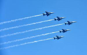 Five Jaguar fighter planes fly over Rajpath