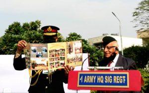 Chief Guest releasing the Shaheed Smarak brochure