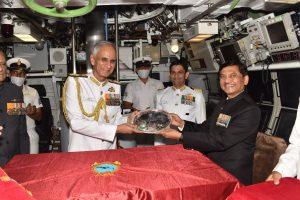 Vice Adm Narayan Prasad, Retd, CMD of Mazagon Dock limited handing
