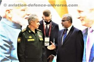 Russian Defence Minister meets Indian Ambassador at India Pavilion in IMTF Army 2021